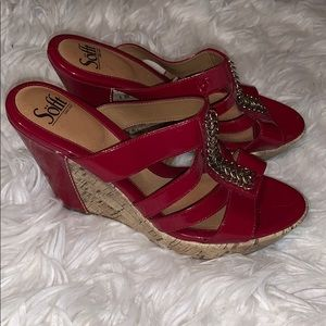Sofft red cork wedge sandals